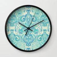 Botanical Geometry - nature pattern in blue, mint green & cream Wall Clock