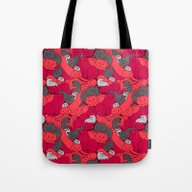 Purrrfect Pattern (Red) Tote Bag