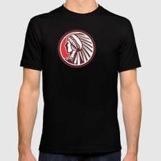 Native American Warrior Chief Circle Mens Fitted Tee Black SMALL