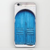 Vibrant Blue Greek Door to Whitewashed Home in Crete, Greece iPhone & iPod Skin