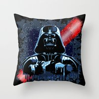 Darth Vader Mask On Dark… Throw Pillow