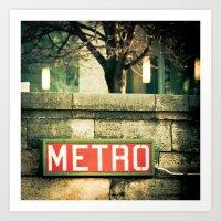 METRO SIGN, PLACE DE LA … Art Print
