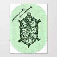 Turtle On Green Canvas Print