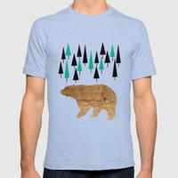Bear in the woods Mens Fitted Tee Tri-Blue SMALL