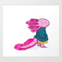 Axolotl Sweater Art Print
