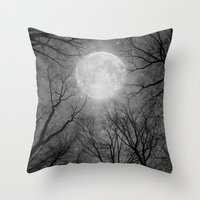 Throw Pillow featuring May It Be A Light (Dark Forest Moon) by soaring anchor designs