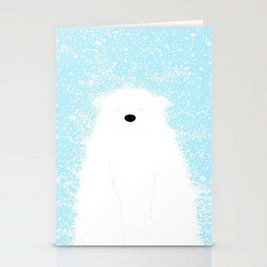 Its A Polar Bear Blinking In A Blizzard - Blue Stationery Card