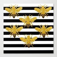 Bee Art In Gold Glitter … Canvas Print