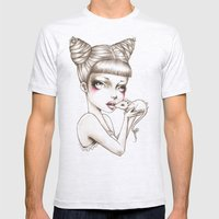 Girl & mouse Mens Fitted Tee Ash Grey SMALL