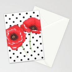 Poppies and polka dots Stationery Cards
