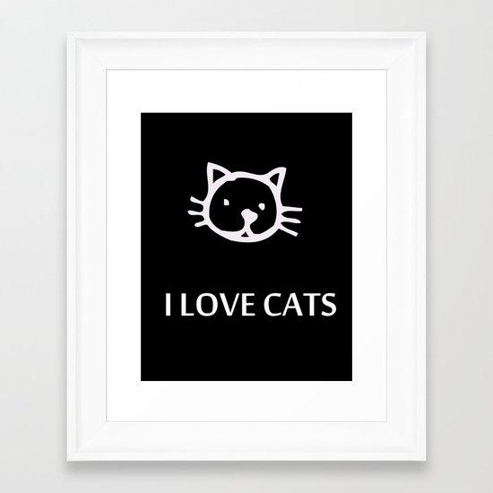 I LOVE CATS Framed Art Print