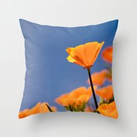 Poppies on Blue Throw Pillow