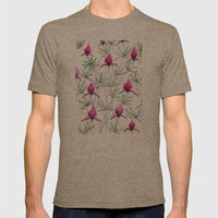 Small Purple Flowers Mens Fitted Tee Tri-Coffee SMALL
