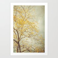 Autumn Botanical -- Tree with Leaves of Glittering Gold Art Print