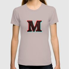 Stereoscopic 3D M Initial Letter Womens Fitted Tee Cinder SMALL