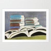 Books - Pastel Illustrat… Art Print