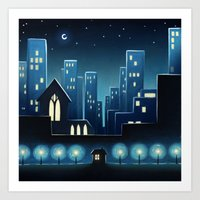 City Lights 1 Art Print