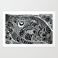 Tangled fishes Art Print
