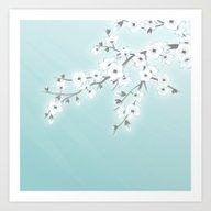 Art Print featuring Cherry Blossoms Mint Whi… by Nina Baydur