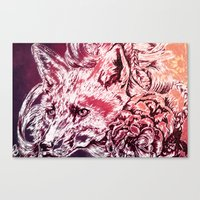 Fox with flowers Canvas Print
