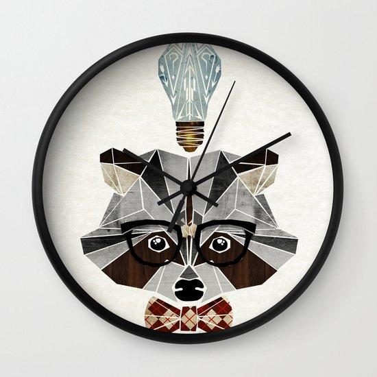 raccoon nerd Wall Clock