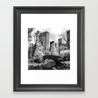 Framed Art Print featuring Central Park Bridge. by Mark Giarrusso