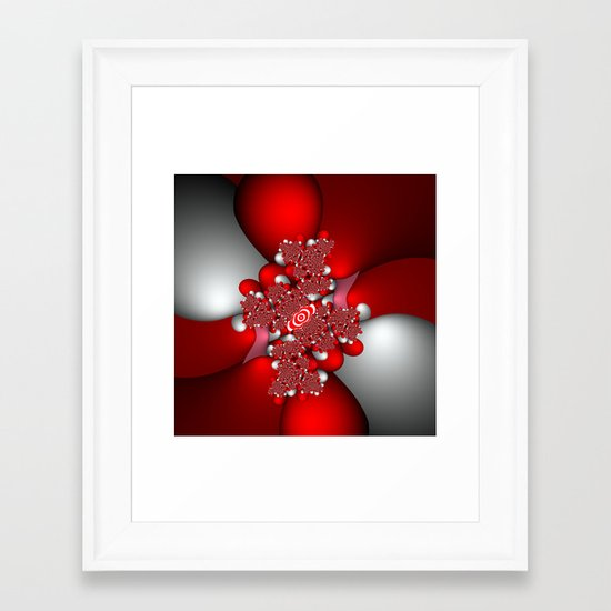 Red, silver and pink fractal Framed Art Print