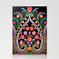 folk damask Stationery Cards