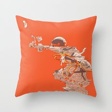 Tangerine Astronaut Throw Pillow