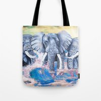 Elephants In Crashing Wa… Tote Bag