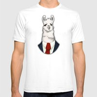 Formal Llama - Red Mens Fitted Tee White SMALL