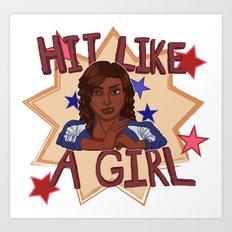 Hit Like A Girl Art Print