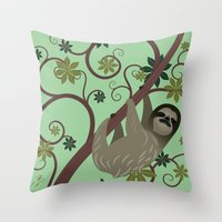Sloth in a Tree Throw Pillow