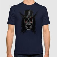 Skull Hat Mens Fitted Tee Navy SMALL