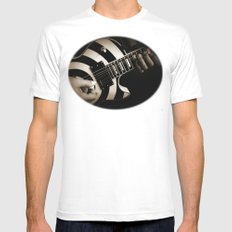 The Guitar Player SMALL White Mens Fitted Tee