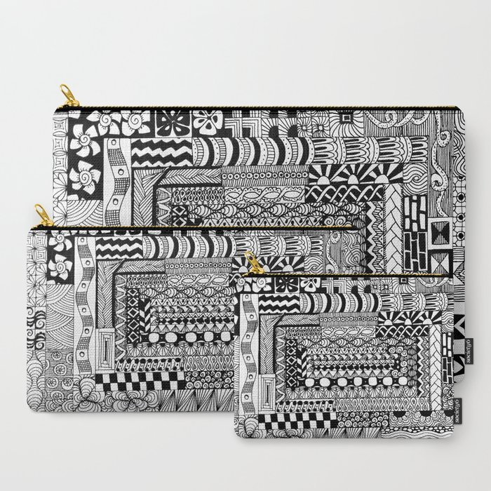 tangled all the way around zentangle pouch bag makeup clutch