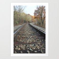 Walking The Railroad Tracks Art Print