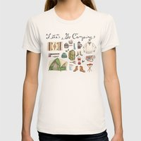 Let's Go Camping Womens Fitted Tee Natural SMALL