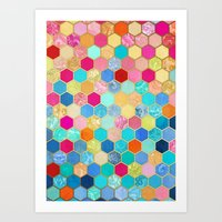 Patterned Honeycomb Patc… Art Print