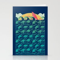 Squid on the waves Stationery Cards