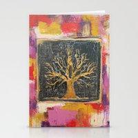 Autumn Window - Bronze Tree Painting Stationery Cards