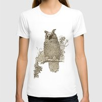 Vintage Owl Womens Fitted Tee White SMALL