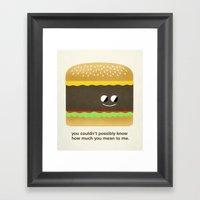 Cheesy Burger Framed Art Print