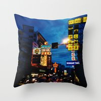 Blue Chinatown Throw Pillow