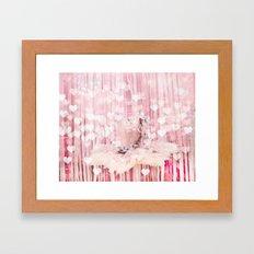 Paris Pink Ballerina Tutu With Hearts Framed Art Print