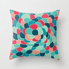 Petals (Aqua Red) Throw Pillow