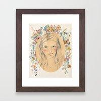 Girl With Flower Frame Framed Art Print