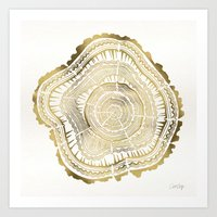 forest Art Prints featuring Gold Tree Rings by Cat Coquillette