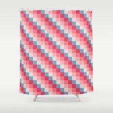 Love Letter Pixel Geometric Stripes Pattern Shower Curtain