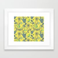 Birds and Acorns Framed Art Print